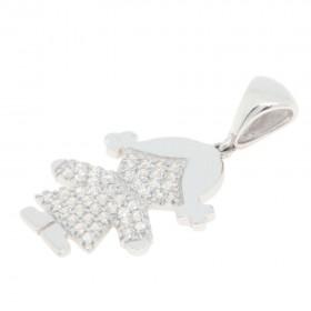 33e65173ff Ciondolo ''Bambina'' in oro bianco 18 carati con Zirconi.